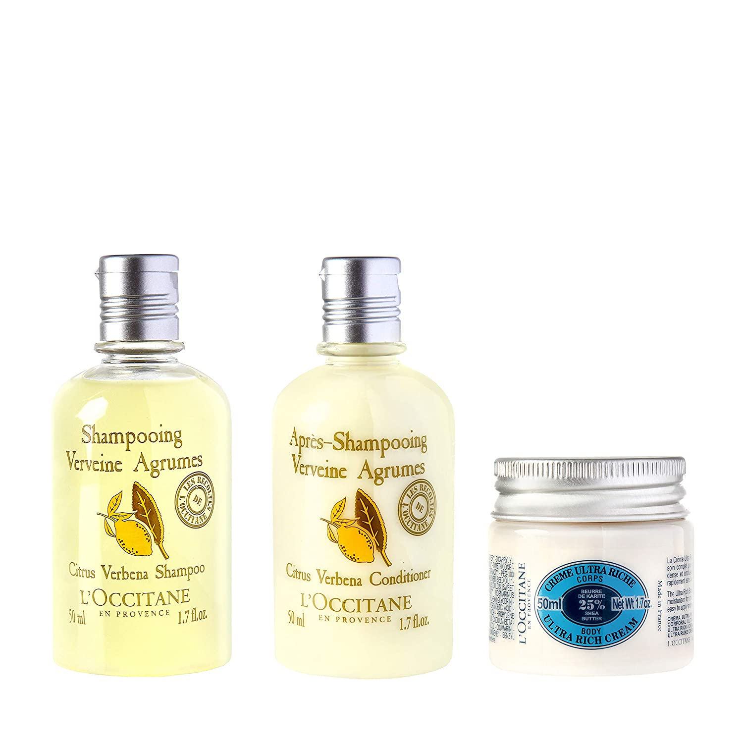 L'Occitane Body & Hair Care 3-piece Travel Kit with Body Cream, Shampoo, and Conditioner